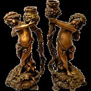Pair of French Bronze 19th Century Cherub Candlesticks