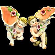 French Porcelain Vases  'Camille Naudot' Figural Pair Cherub
