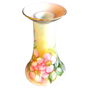SALE R.S. Germany Candle Holder Hand Painted Wild Pink Roses Artist Signed Wyatt