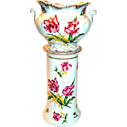 Lovely Jardinière with Umbrella Stand Base Hand Painted Irises.