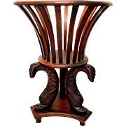 Empire Style Mahogany Jardinière Plant Stand with Dolphin Legs