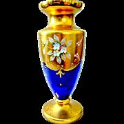 """Murano Venetian Vase 22K Gold Enamel Flowers Cobalt Blue 11"""""""