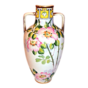 REDUCED Nippon Urn Vase Hand Painted Double Handles with Wild Rose Pattern 12""