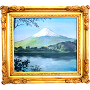 Oil Painting of Mt. Fuji by Artist T. Onoda in Ornate Frame