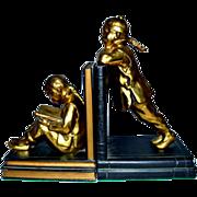 Ronson Art Deco Gilded Gold Oriental Children Bookends