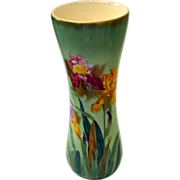"Royal Bonn Franz Anton Mehlem Large Vase Hand Painted Irises 14.5"""