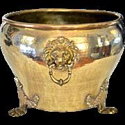 Imperial Russian Hand-Hammered Brass Jardinière w/Lion Head Mounts