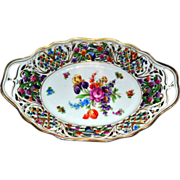 Schumann Dresden Reticulated Oblong Bowl with Hand Painted Flowers