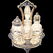 Victorian Castor Cruet Set Rockford Silver Co. Quadruple Plated