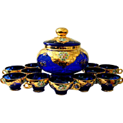 Vintage 14 Pc Hand Blown Murano Cobalt Art Glass Punch Bowl Set 22 K Gold ...