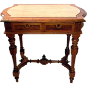 SALE Walnut Burl wood Renaissance Revival Library Table Partners Desk Marble Top