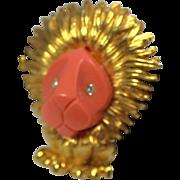 Boucher Lion Figural Faux Coral Face Brooch