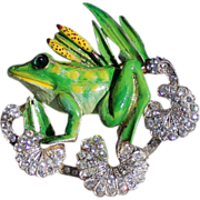REDUCED CoroCraft Sterling Enamel Frog Brooch/Pin