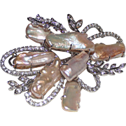Pearls Natural Mabe  CZ Swirl Brooch