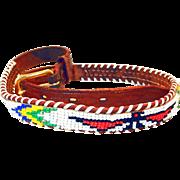 SALE Vintage Beaded Leather Childs Indian Belt