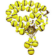 SALE Miriam Haskell in our End of Year SALE Canary Yellow Glass Bead Necklace with Black Strip