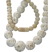 SALE Hand Carved Hollow Bone Chinese Bead Necklace