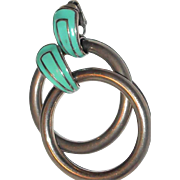 SALE Year End Sale: Large Hoop Earrings with Enamel Turquoise Clip Ends