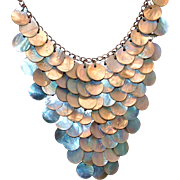 SALE Boutique Disc Bib Necklace of Shell