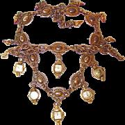 SALE Vintage Wrist Watch Face Dangle Necklace and Bracelet Set