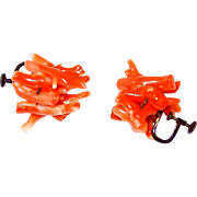 SALE Victorian Natural Branch Coral and Sterling Earrings