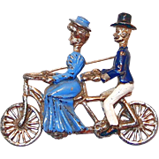 REDUCED Unusual Pot Metal Brooch of Bicycle Built for Two with Victorian Couple