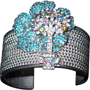 REDUCED Silver-tone Bead Work Metal Cuff Bracelet with Dimensional Turquoise Pansies and ...
