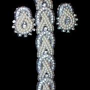 REDUCED Ciner Seed Pearl Pave Rhinestone Loop Necklace and Earring Demi Parure - Vintage Brida