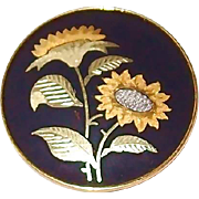 SALE Fine Japanese Anita Gold and Silver Sunflower Pin