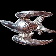 SALE Designer Swallow Figural Bird in Flight Brooch