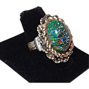 SALE Vintage Green Speckled Fashion Ring for This Years Look in Vogue