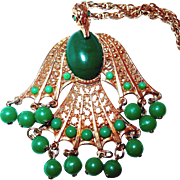 REDUCED Falcon Bird Pendant Necklace with Green Beads