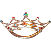 SALE Sterling Silver Crown Pin with Rhinestones