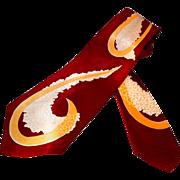 Super 1940s Wide Necktie with a Swirls Pattern Inside Swirls