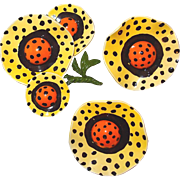SALE Sunny Polka Dot Yellow and Orange Wavy Flower Brooch and Earring Set