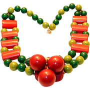 REDUCED Wonderful Red Cherry Bakelite Necklace from 1940s