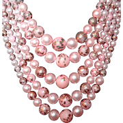 SALE Pink and Gold Leaf Early Plastic Five Strand Beaded Necklace
