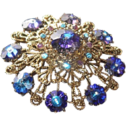 SALE BLOWOUT SALE: Purple and Blue Margarita Crystal Brooch - Fabulous