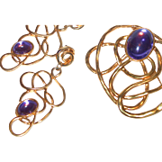 REDUCED Huge Abstract Brooch and Dangle Earrings with Purple Cabochons