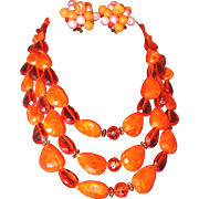SALE Orange Beaded Three Strand Necklace and Button Bead Earring Set