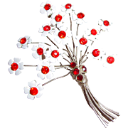 REDUCED Floral Spray Brooch of Silver Metal Wire and Enamel Flowers with Orange Red Rhinestone