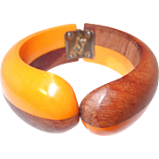 SALE Laminated Butterscotch Bakelite and Wood Clamper Bracelet