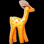 SALE Designer Bakelite Martha Sleeper Bambi Deer Pin with Leather Ears and Glass Eye