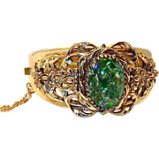 REDUCED Repousse Green Fire Opal Cabochon Bangle