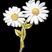 SALE Double Daisy Flower Brooch by ART