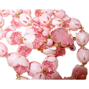 REDUCED Two Strand Pink Plastic Crystal Flower Bud Beaded Necklace