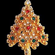 SALE Rhinestone Christmas Tree Pin - Medium Size