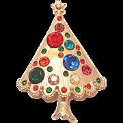 REDUCED Large Multi-colored Rhinestone Christmas Tree Pin