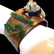 REDUCED Rhinestone Panda Bear Cuff Bracelet with Jade Bamboo