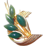 REDUCED Spray Textured Gold-tone and Jade Pin